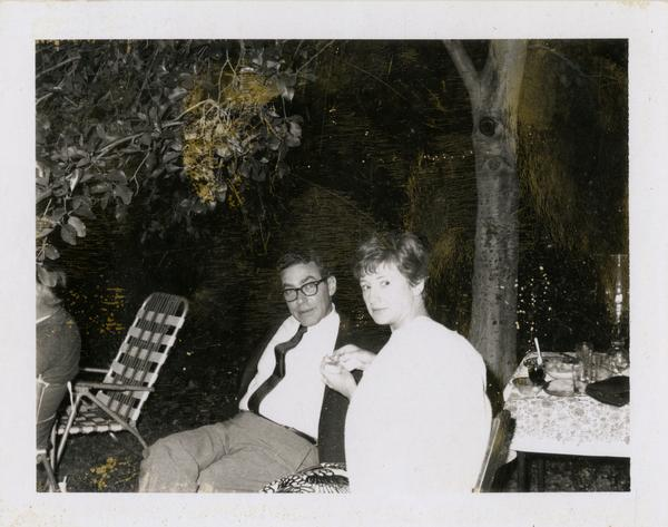 Lis Eisenbach and her husband at the fifth anniversary of the beginning of the School of Library Service, 1961