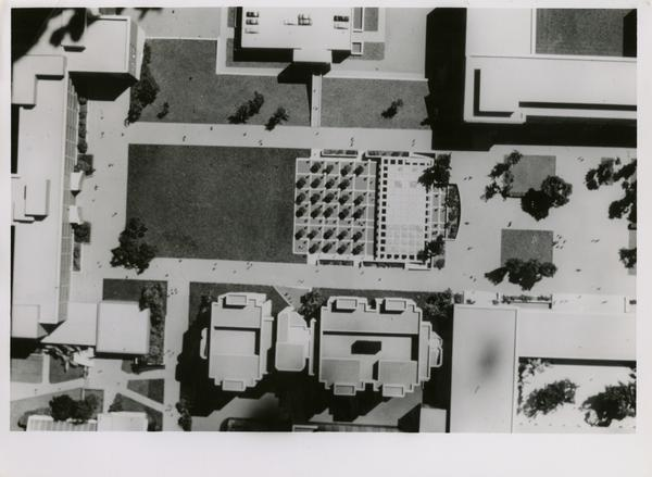 Aerial view of the model of the Life Sciences building