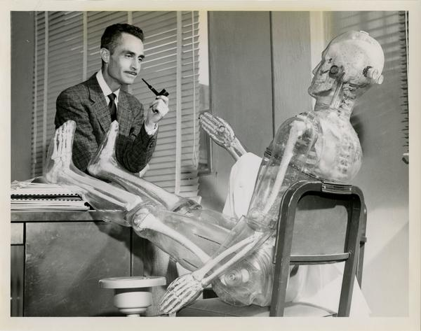 Wright H. Langham, Assistant Health Division Leader for Bio-Medical Research, and one of the two plastic men used in studies of radiation effects on humans