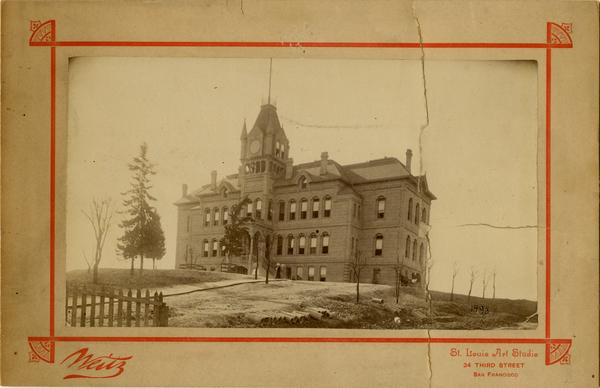 Exterior view of Los Angeles State Normal School, ca. 1889