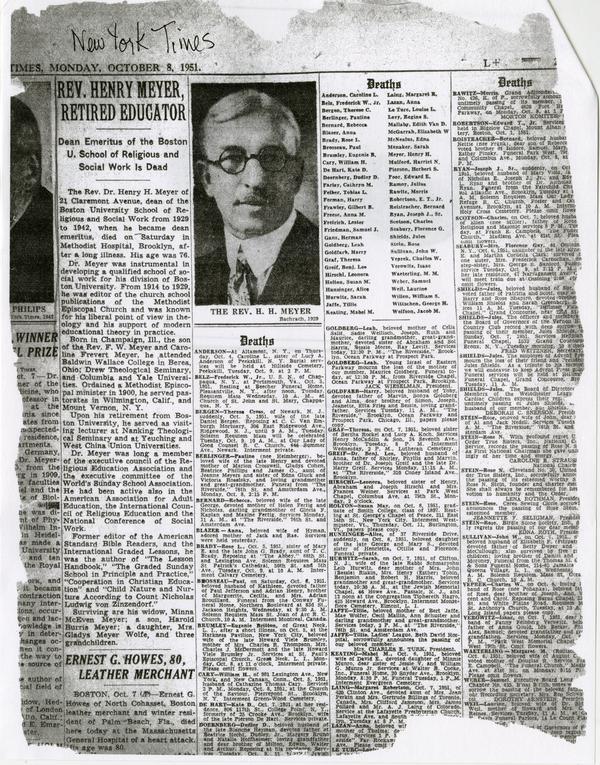 Obituary of Henry Meyer, New York Times, October 8, 1951