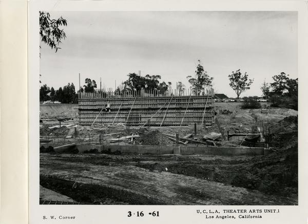View of southwest corner of MacGowan Hall under construction, March 16, 1961