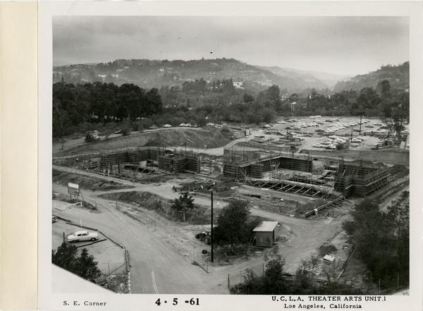 View of southeast corner of MacGowan Hall under construction, April 5, 1961