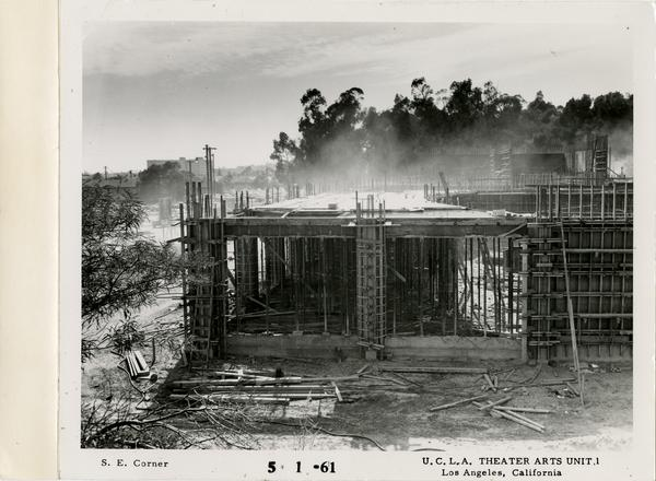View of southeast corner of MacGowan Hall under construction, May 1, 1961