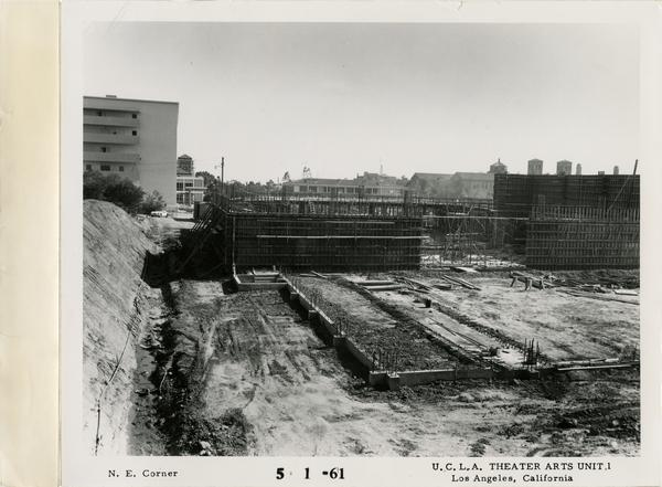 View of northeast corner of MacGowan Hall under construction, May 1, 1961