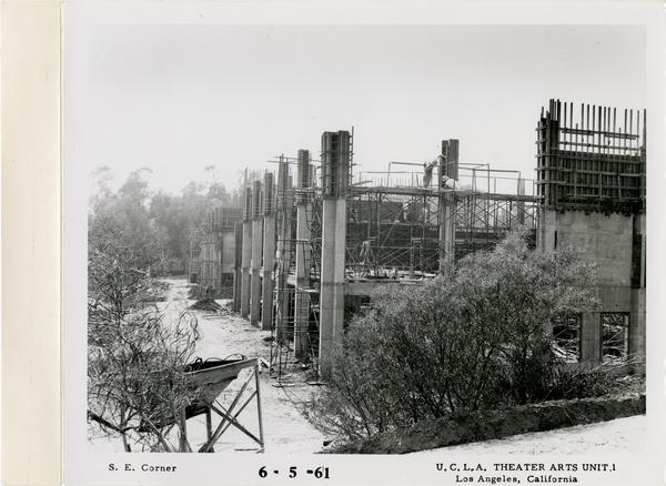 View of southeast corner of MacGowan Hall under construction, June 5, 1961