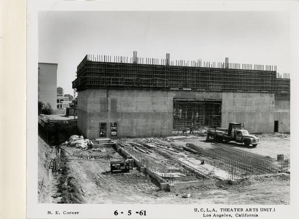 View of northeast corner of MacGowan Hall under construction, June 5, 1961