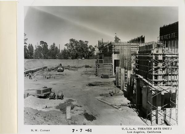 View of northwest corner of MacGowan Hall under construction, July 7, 1961