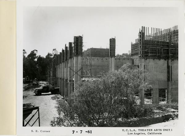 View of southeast corner of MacGowan Hall under construction, July 7, 1961
