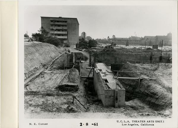 View of northeast corner of MacGowan Hall under construction, February 8, 1961