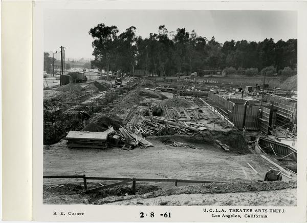 View of southeast corner of MacGowan Hall under construction, February 8, 1961