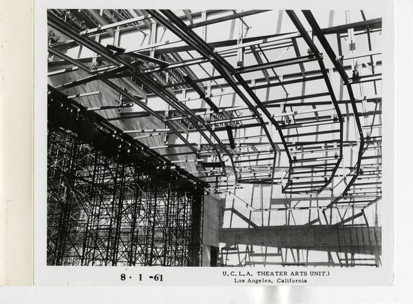 Interior view of MacGowan Hall under construction,August 1, 1961