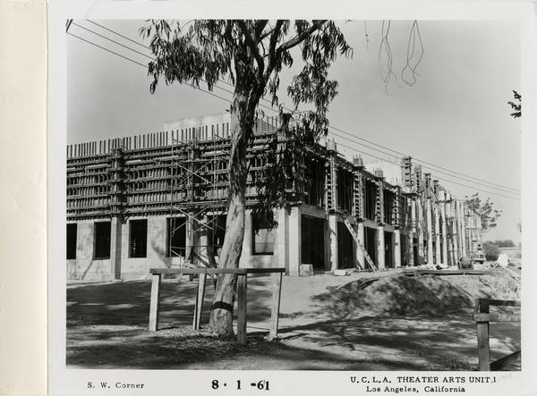 View of southwest corner of MacGowan Hall under construction, August 1, 1961