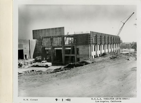 View of northwest corner of MacGowan Hall under construction, September 1, 1961