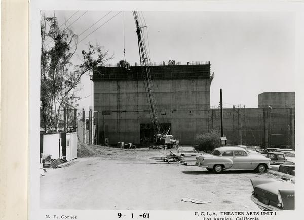 View of northeast corner of MacGowan Hall under construction, September 1, 1961