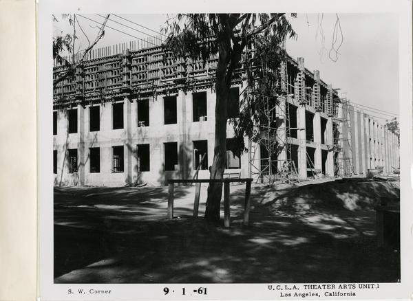View of southwest corner of MacGowan Hall under construction, September 1, 1961