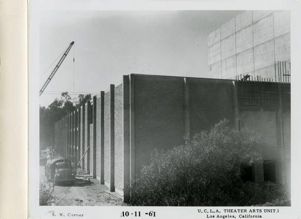 View of southwest corner of MacGowan Hall under construction, October 11, 1961