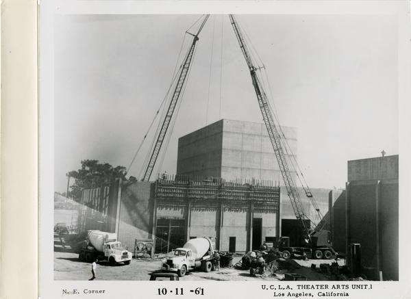 View of northeast corner of MacGowan Hall under construction, October 11, 1961