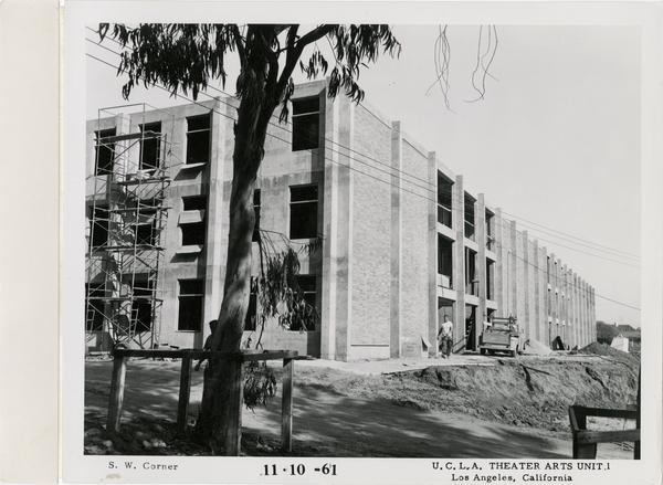 View of southwest corner of MacGowan Hall under construction, November 10, 1961