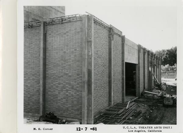 View of northeast corner of MacGowan Hall under construction, December 7, 1961