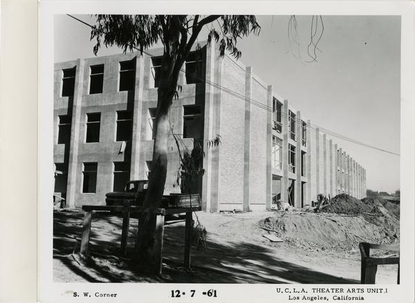 View of southwest corner of MacGowan Hall under construction, December 7, 1961