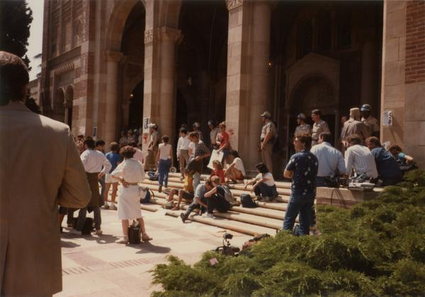 Apartheid protest outside of Royce Hall