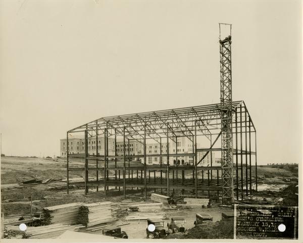 Men's gymnasium under construction, January 15, 1932