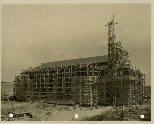 Men's gymnasium under construction, May 30, 1932