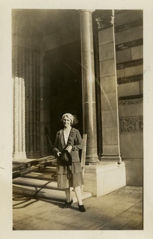 Woman in front of Royce Hall where art department is located, August 17, 1929