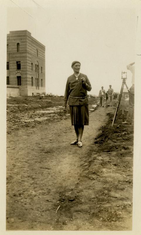Mrs. Hazeu walking near Physics building, September 14, 1929