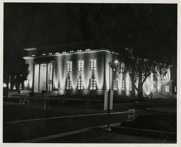 Exterior view of Murphy Hall during Homecoming, October 18, 1952
