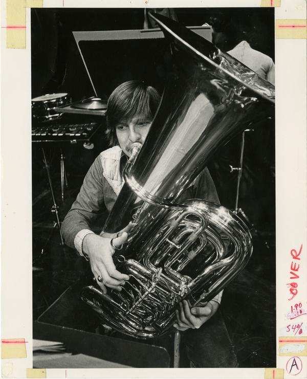 Student playing tuba