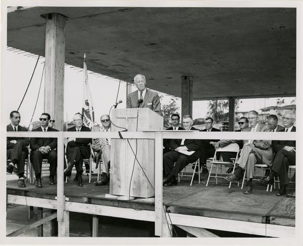 Chancellor Vern O. Knudsen speaking at Cornerstone Ceremony, May 21, 1960