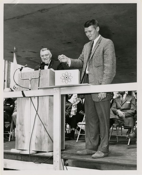 Dr. Joseph F. Ross and Kermit Larson at Cornerstone Ceremony, May 21, 1960