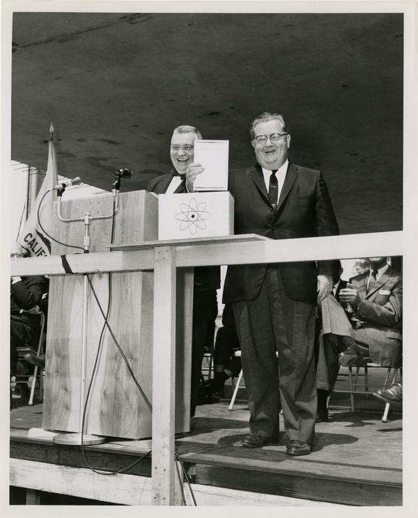 Dr. Joseph F. Ross and Dr. George V. Taplin at Cornerstone Ceremony, May 21, 1960