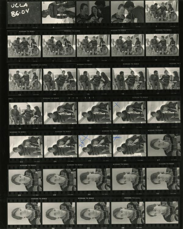 Contact sheet of nurse interacting with patients, ca. 1986