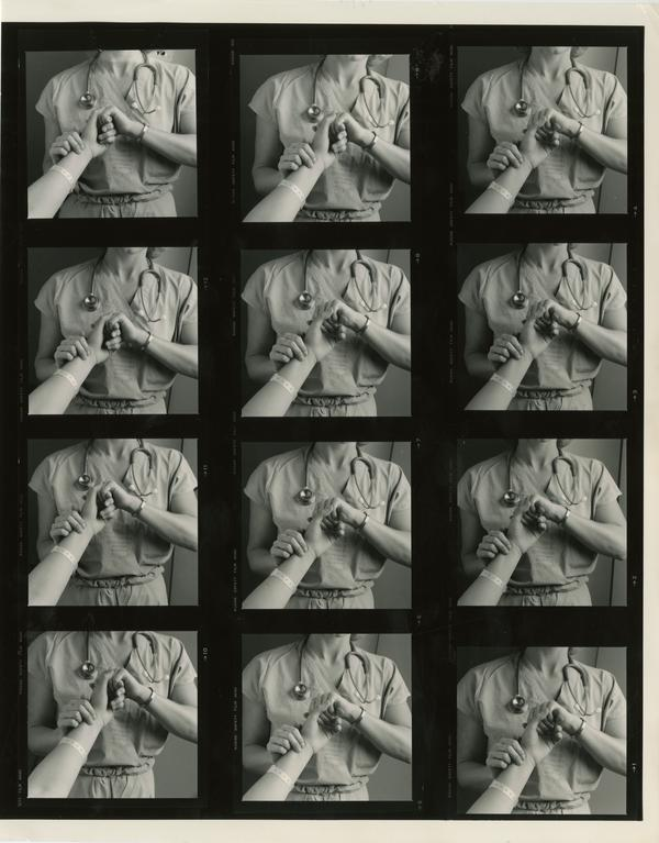 Contact sheet of images of nurse taking a patient's pulse, ca. 1985