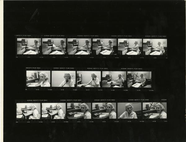 Contact sheet of outpatient nurse conducting secretarial tasks