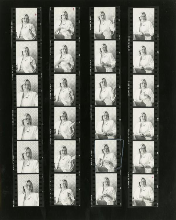 Contact sheet of nurse, Karen Hasler, October 3, 1984