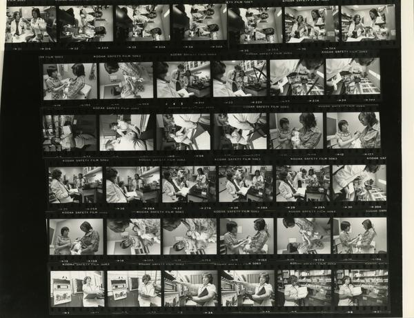 Contact sheet of nurses carrying out activities