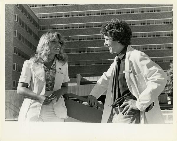 Nurses talking outside