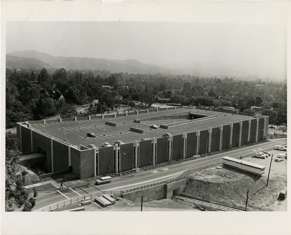Aerial view of Parking Structure 3, ca. 1965