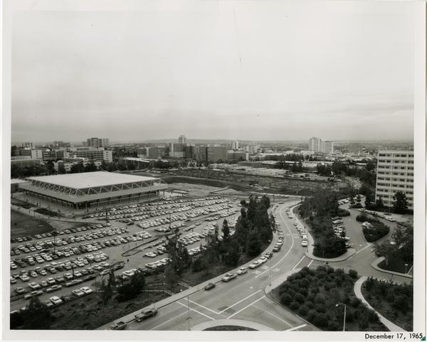 Parking Structure H in background with Art Center in foreground, December 17, 1965