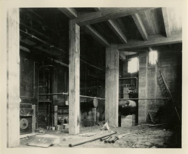 Interior view of Kinsey Hall under construction