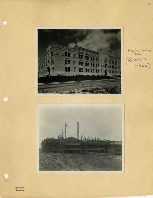 View of Kinsey Hall during construction and after