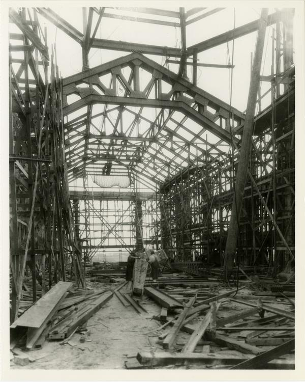 Interior view of Powell Library Main Reading Room during construction, ca. 1928