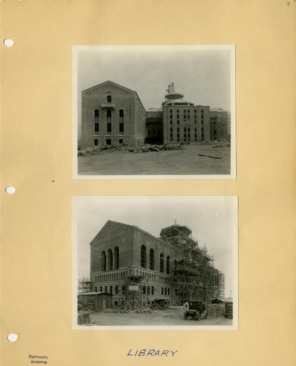 Two views of Powell Library during construction