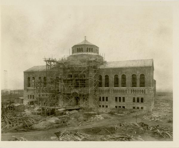 Powell Library during construction