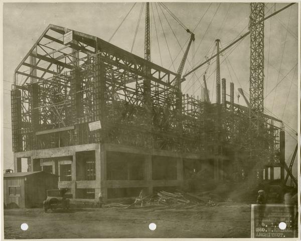 Powell Library during construction, February 1, 1928