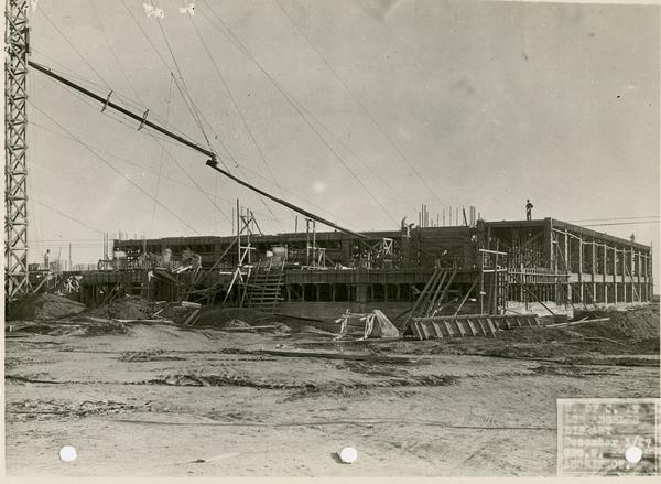 Powell Library during construction, December 1, 1927